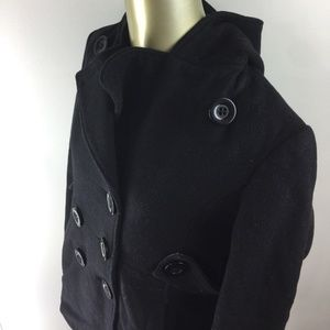 NINE WEST Button Front Black Wool Hooded Peacoat